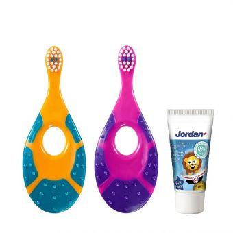 Zobna ščetka za otroke Jordan Step 1 (2 kosa) in otroška zobna pasta Jordan Kids, 0 - 5 let